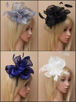 CHIFFON FLOWER, FEATHER & NET ALICE BAND FASCINATOR, WEDDING, RACES, OCCASION