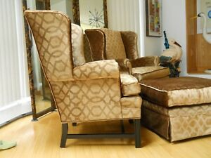 Sublime Pair of  Kittinger Wing Chairs  and Ottoman Hollywood Regency Decorator