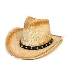 Cowboy Stetson Style Summer Hat with Faux Leather Band with Studs