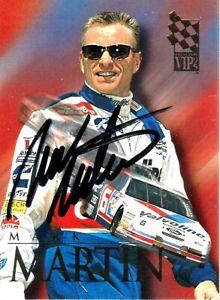 MARK MARTIN  -  Autographed [k24]  1994 Press Pass VIP  Card #19
