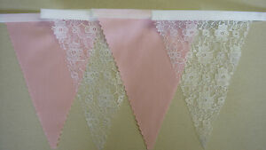 BABY PINK & WHITE LACE BUNTING VINTAGE Wedding Party Decoration 2mt or more