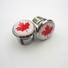 Vintage Style Canada Flag Racing Bar Plugs, Caps