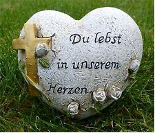 *Grabschmuck / Herz mit goldenem Kreuz *Du lebst in unserem Herzen * grau-antik