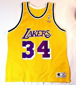 Vintage Shaquille O'Neal LA Lakers Champion Jersey Size 48 NBA Basketball 🏀RARE