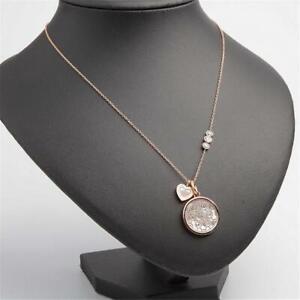 Michael Kors Monogram & Heart Charm Pendant Necklace Rose Gold Tone