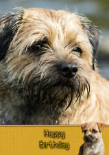 Border Terrier Handmade Birthday Card 8x6""