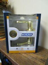 New! Schlage Security Set - Bright Brass Lever & Lock (1378)