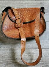 Lovely Classics Faux Leather Ostrich Style Embossed Handbag Messenger Bag Purse