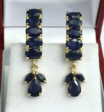 14k Solid Yellow Gold Band Dangle French Clip Earrings, Natural Sapphire 6TCW