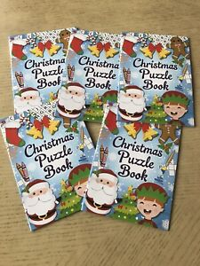 Christmas Puzzle Books Pack Of 5 Fun Loot Bag  Children