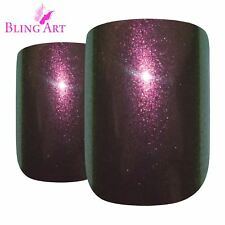 False Nails Gold Purple Chameleon French Squoval 24 Bling Art Tips 2g Glue