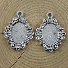 Vintage Silver Alloy Oval Shaped Cameo Setting Tray Charms Pendant Jewelry Craft