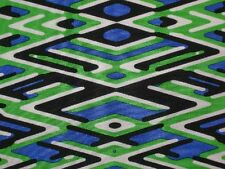 Geometric silk fabric black white blue green woven 100% by the yard x 45 INCHES