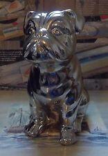 Chrome Silver Porcelain (Ceramic) Big Statue (Figurine) Sitting Bulldog. New Dog