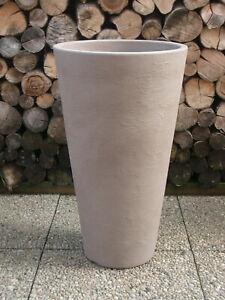 Pflanzkübel Blumenkübel 40 x 70cm Kunststoff Stein-Optik  Farbe : Sandfarben