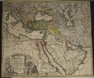 TURKEY MIDDLE EAST ARABIA GREECE MEDITERRANEAN SEA 1737 HOMANN HEIRS ANTIQUE MAP