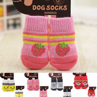4pcs Anti-Slip Dog Knit Socks Boots Smile Puppy Pet Cat Shoes Booties Protector
