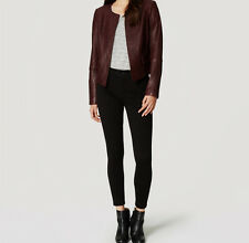 Ann Taylor Loft Collarless Leather Jacket Espresso Bean NWT $298 - Size S, XS, M