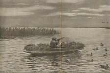 A.B. Frost, A Chance Shot While Setting Out Decoys Dbl Pg 1896 Antique Art Print
