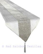 """White & Silver Grey Diamanté Sparkle Velvet Christmas Table Runner 13"""" x 72"""""""