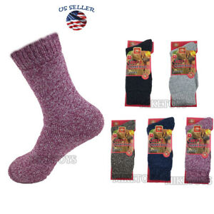 3 Pairs Womens Winter Warm Thermal Lambs Wool Merino Heavy Duty Boot Socks (8)