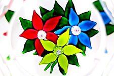 Beautiful SAINT LOUIS Multi-Faceted Three FLOWER Bouquet Art Glass PAPERWEIGHT