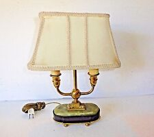 Vintage Mutual Sunset Lamp Co. Two Armed Brass, Alabaster & Marble Lamp #3212
