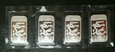 Lot of Four 2012 1oz Silver Lunar Year of the Dragon Bars in Plastic