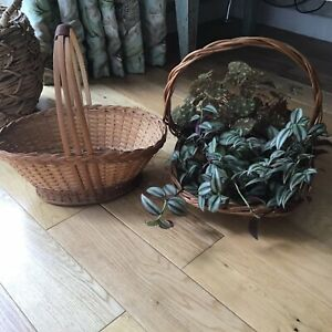 Two Vintage Wicker Baskets With Handles Container, Flowers Arranging, Eggs