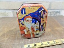 More details for santa claus & lantern vincent's blue bird christmas toffee tin c1930s
