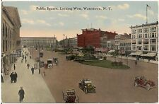 Public Square Looking West in Watertown NY Postcard