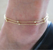 LADIES GIRLS DOUBLE LAYER BEAD ANKLET ANKLE-BRACELET ADJUSTABLE GOLD UK