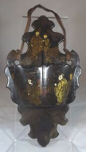 Anitque Victorian Black Lacquered Papier Mache Wall Pocket in the Oriental Style