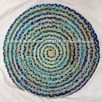 Reversible Jute Saree Mat Rug Vintage Floor Door Round Rugs Indian Handmade Rugs