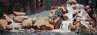 "100""x 36"" Beautiful Natural Water Fountain Falls Mosaic Marble Art Tile Stone"