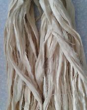 3 Meters Recycled Sari Silk Ribbon - Ivory/Cream