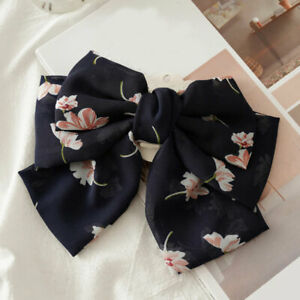 Oversized Bow Steel Hair Clip 3 Layers Floral Barrette Ponytail Hair Accessories