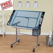 Glass Drafting Table Drawing Board Rolling Craft Workstation Light Adjustable