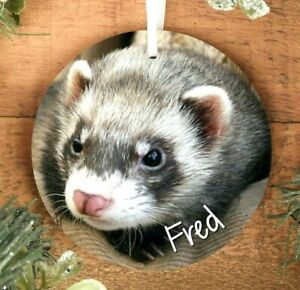 Ferret Hanging Decoration Ornament, Personalised Wooden Pet Christmas Bauble
