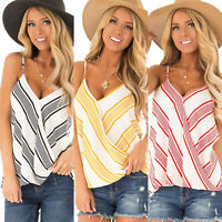 Women Striped Boho Hippie Tank Top Summer Vest Sleeveless T shirt Loose Blouses