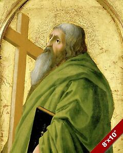 APOSTLE & MARTYR ST ANDREW PAINTING CHRISTIAN BIBLE ART REAL CANVAS PRINT