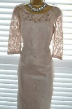 ~ JOHN CHARLES ~ Blush Lace Overlay Dress Size 14 Suit Mother of the Bride Pink