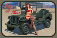 Army Jeep Pin Up Girl Blechschild Schild gewölbt Metal Tin Sign 20 x 30 cm