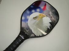 QUICK AT NET PICKLEBALL PADDLE EAGLE & USA FLAG PICKLEPADDLE R1 GAMMA GRIP THIN