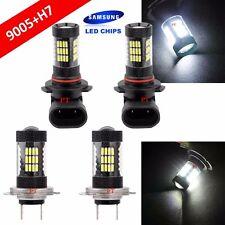 Combo Set H7 9005-HB3 Samsung LED 57 SMD White Headlight Light Bulb Hi/Lo Beam