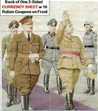 FASCIST RATION CURRENCY SHEET w HITLER & FRANCO (WW2 ALLIES) on BACK OF COUPONS!