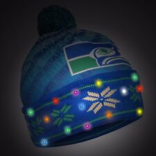 Seattle Seahawks Light Up Printed Beanie Winter Hat Toque Cuffed Pom RETRO