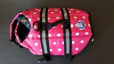 PAWS ABOARD DOG LIFE JACKET LIFESAVER IN POLKA DOT PINK SIZE X-SMALL