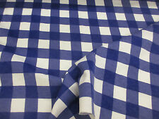 White & Royal Blue Checked 100% Brushed Cotton Flannel Fabric. Price Per Metre!