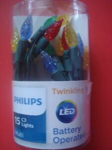 PHILIP CHRISTMAS LIGHTS TWINKLING MULIT C3 FACETED LIGHTS BATTERY OPERATED NEW